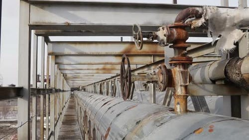Water Leaking From Connection of Valve and Pipe at Sewage Treatment Plant
