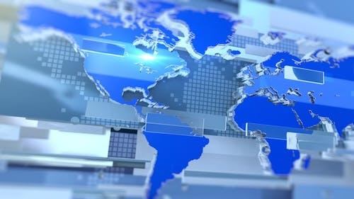 Weltkarte Broadcast News Übergang Blau