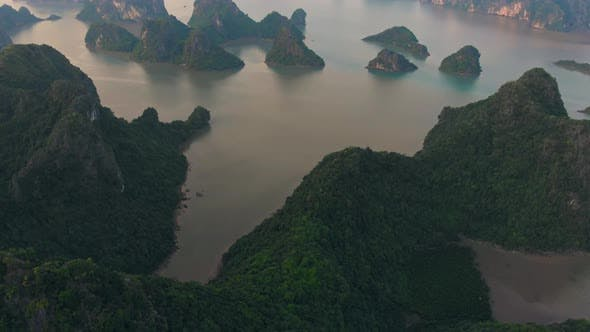 Thumbnail for Aerial: unique flying over Ha Long Bay and Cat Ba island, Vietnam