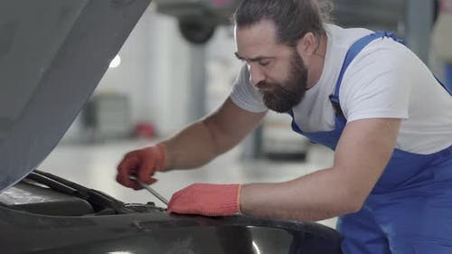 Proffesional Car Maintenance at Service Station. Car Service, Repair, Maintenance and People Concept