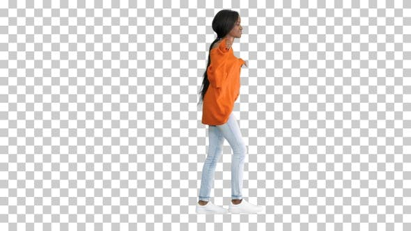 Relaxed african american young woman dressed, Alpha Channel
