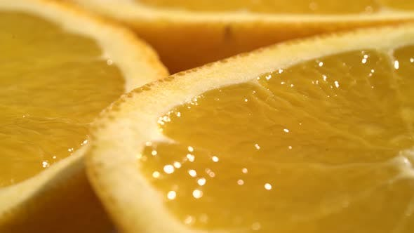 Thumbnail for Orange Slices Closeup, Macro Food Summer Background, Fruits Top View. Rotate