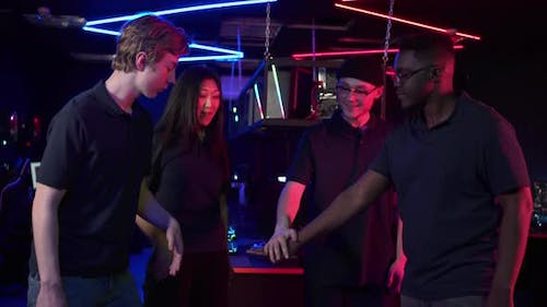 Multiracial Team of Esports Players Celebrates the Victory in the Next Championship Slow Motion