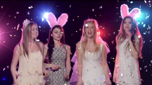 Girls at Bachelorette Party Having Fun Dancing, Throws Glitter Confetti