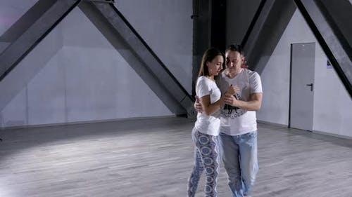 Professional Dancers Dancing Together in Big Studio Hall