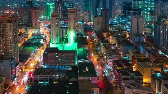 Cover Image for Night View Skyscrapers and Shopping Malls on the Makati District of Manila City