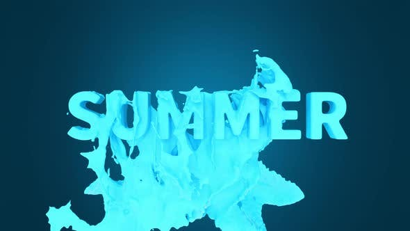 The pouring down blue liquid, font animation of summer.