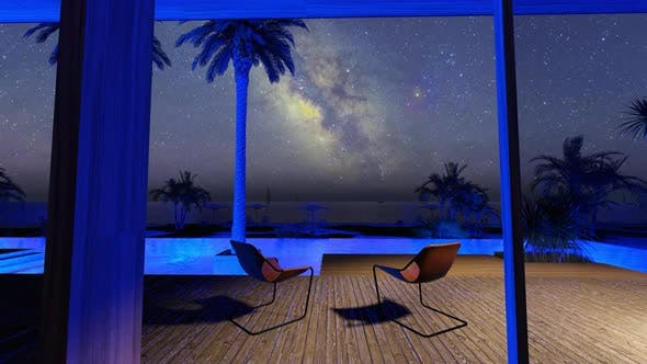 Beach House With Swimming Pool And Night Sky With Milky Way