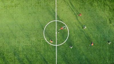 Beginning of a Football Match and Scoring a Goal