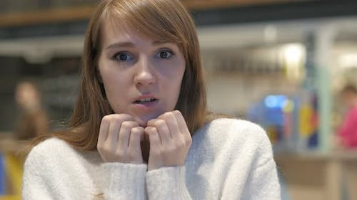 Shocked Woman Portrait at Work, Amazed by Surprise