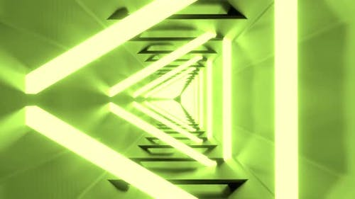 Looping Endless Triangle Tunnel with Green Neon Lights