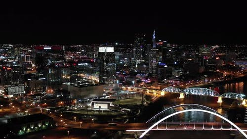 River at Nashville Tennessee night aerial video