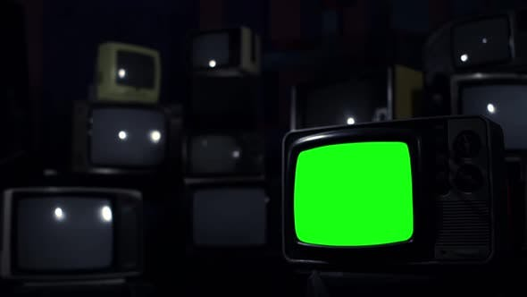 Thumbnail for Old TV with Green Screen over a Retro TV Wall.