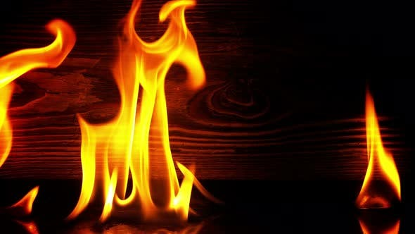 Thumbnail for Fire Burning And Wooden Background 7