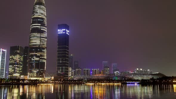 Thumbnail for Timelapse Nanshan District of Shenzhen Reflected in Water