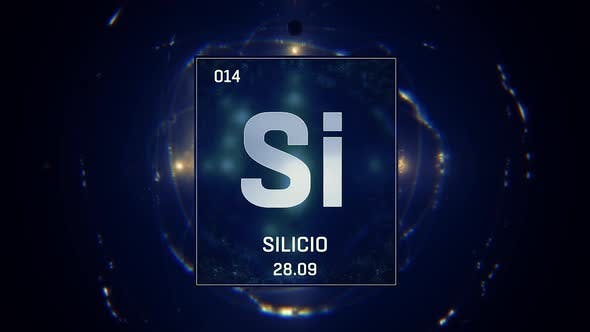 Thumbnail for Silicon as Element 14 of the Periodic Table on Blue Background Spanish Language