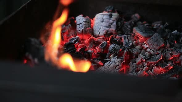 Burning coals, Glowing Charcoal Background