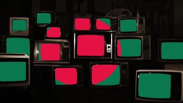 Thumbnail for Flag of Bangladesh on Retro TVs.