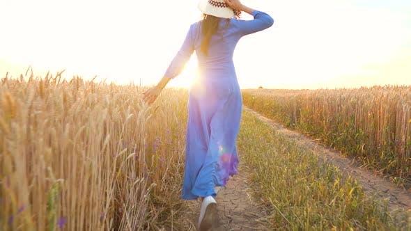 Schöne Frau in einem blauen Kleid und Hut läuft durch ein Weizenfeld bei Sonnenuntergang. Freiheitskonzept. Weizen