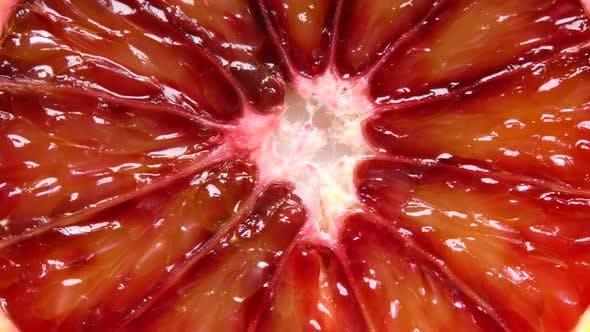 Extreme close-up of blood orange slice