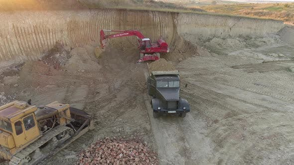 Thumbnail for Aerial view of a loaded truck