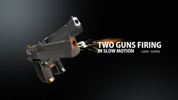 Two Guns Firing In Slow Motion