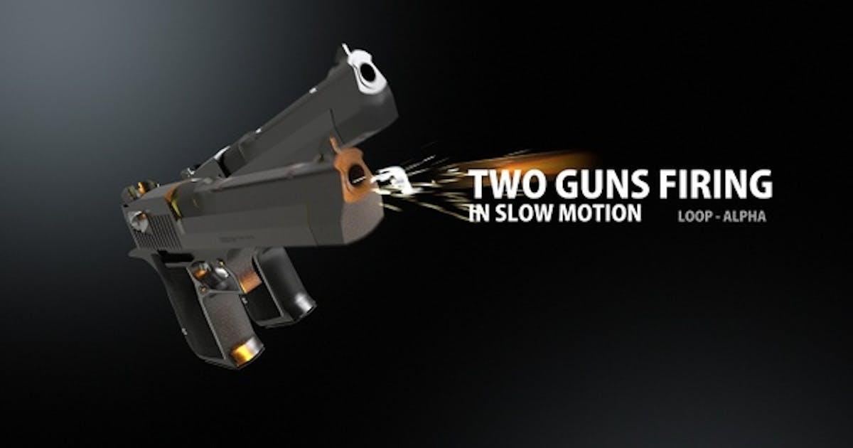 Two Guns Firing In Slow Motion