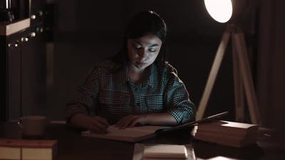 Business Woman Working In Night Office