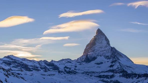 Sunset at the Matterhorn in Winter. Swiss Alps. Switzerland