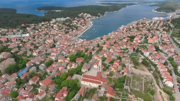 Thumbnail for Aerial view of boats at Mali Losinj bay, Croatia.