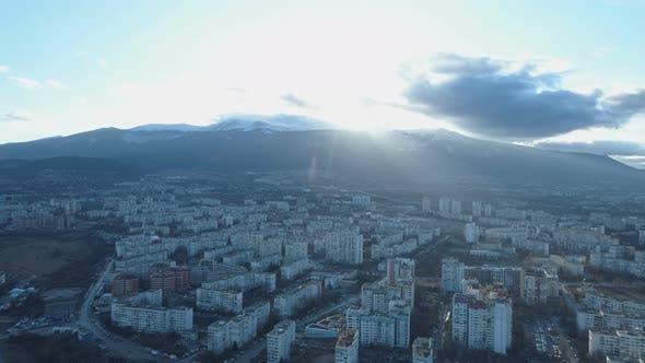 Beautiful Sunset Trough Clouds Above Vitosha Mountain in Sofia, Bulgaria