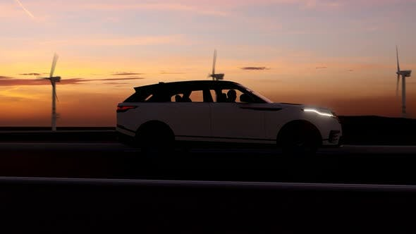 Thumbnail for White Luxury SUV Long Road Sunset View