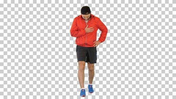 Sportsman having a heart attack, Alpha Channel