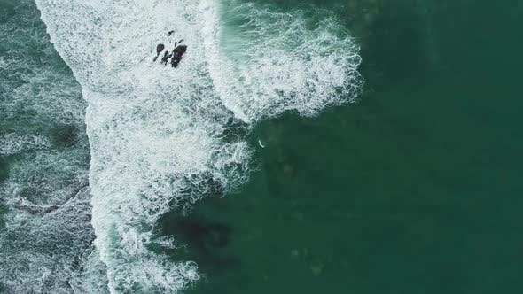 Thumbnail for Aerial Top View on Ocean Waves in Portugal