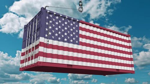 Container with Flag of the United States of America