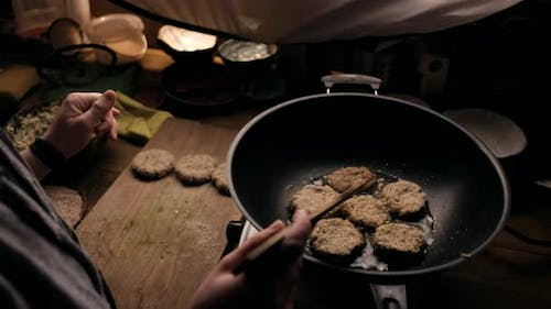 Female Cooks the Vegetarian Cutlets