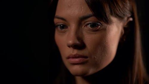 Sad Look of Young Beautiful Woman, Closeup of Face, Sadness and Sorrow, Emotional Portrait