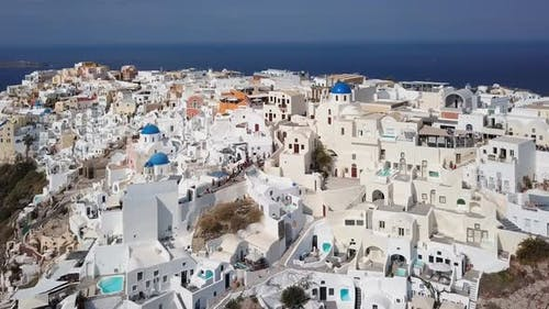 Aerial panorama of Oia town, Santorini