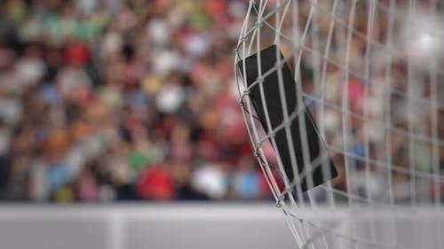Ice Hockey Puck Hits Goal Net