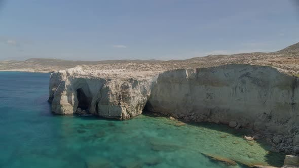 Rising Aerial View of Cliffs on the Aegean Sea