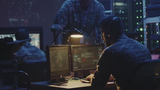 Soldier Working on a Computer