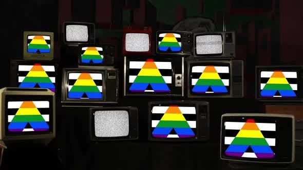 Thumbnail for Straight Ally Flags on Retro TV Stack Installation.
