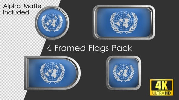 Gerahmtes Flaggen-Paket der Vereinten Nationen