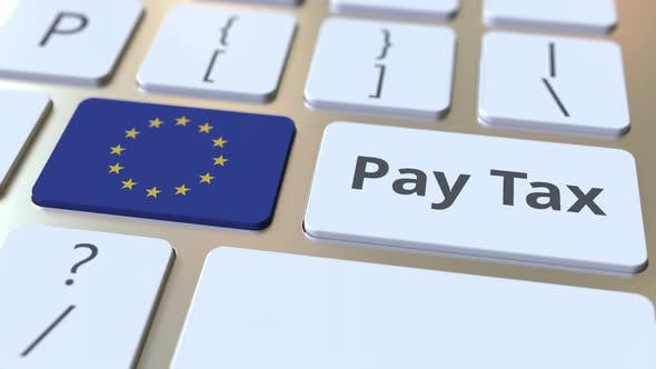 Thumbnail for PAY TAX Text and Flag of the European Union on the Keyboard
