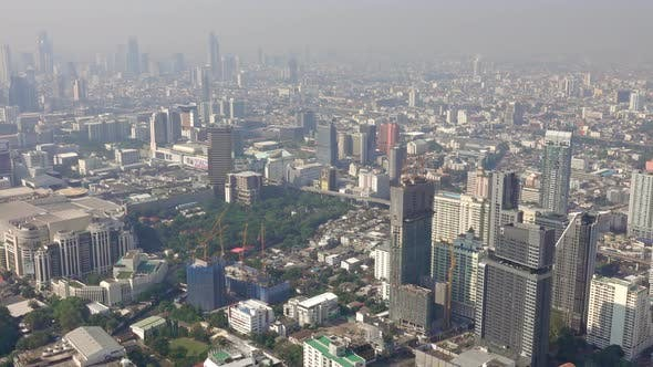 Thumbnail for Top View on Bangkok City Wih Roads and Skyscrapers