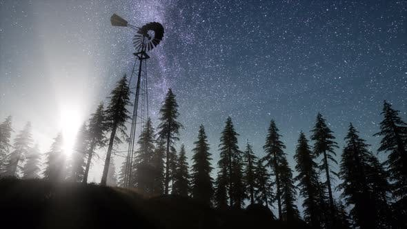 Thumbnail for Retro Windmill in Mountain Forest with Stars. Hyperlapse