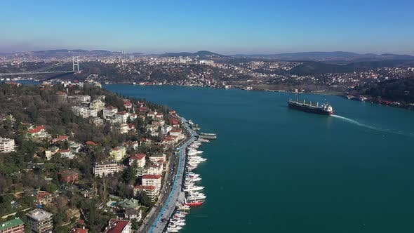 Thumbnail for Istanbul Bebek Bosphorus Aerial View Cargo Ship And Bridge 3