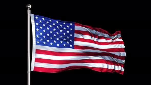United States Flag Loop on Black Background