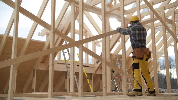New Wooden Construction Frame of House Building