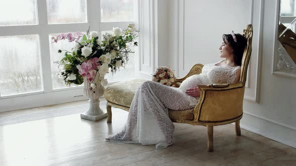 Thumbnail for Beautiful Pregnant Woman Caress the Belly At Home